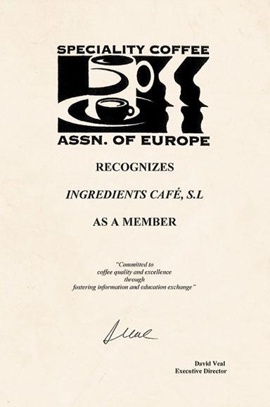 Certificado Speciality Coffee Association of Europe