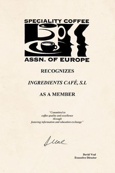 Specialty Coffee Association of Europe Certificate